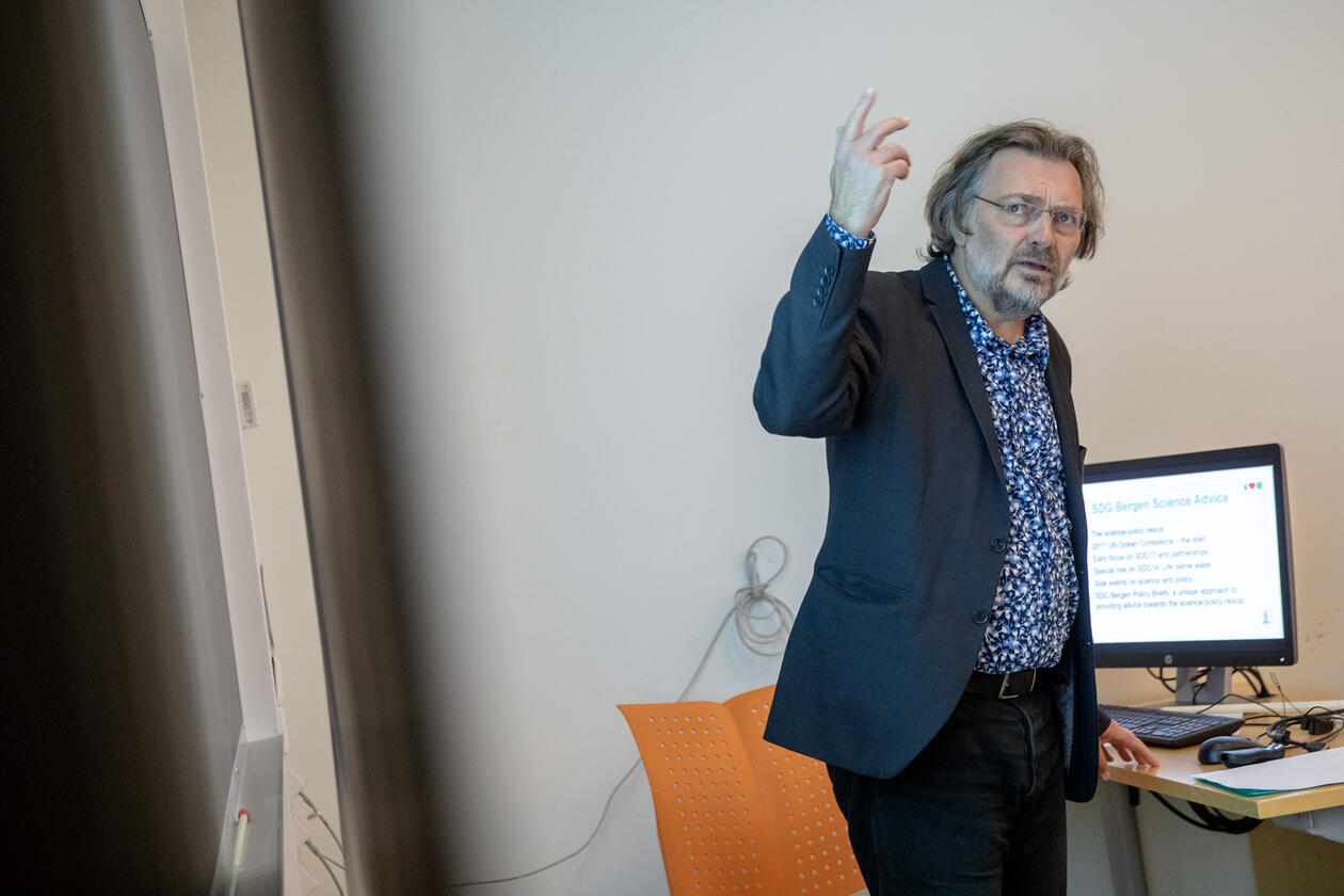 Scientific Director Edvard Hviding of SDG Bergen Science Advice during a workshop at the SDG Conference Bergen in February 2020.
