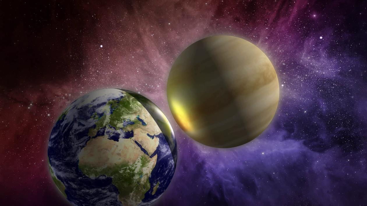 Planets colliding, illustration