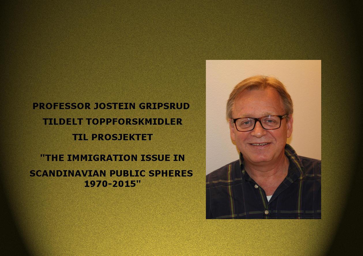 Professor Jostein Gripsrud tildelt Toppforskmidler