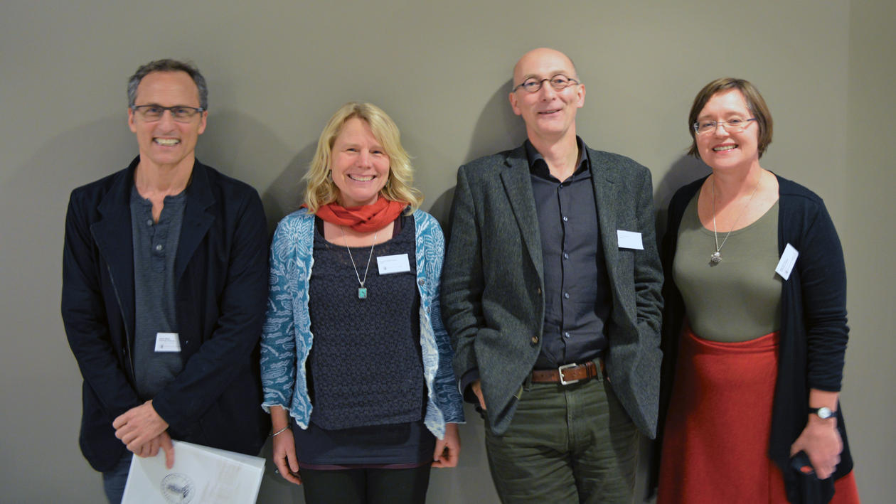 Keynote speakers Jesse Ribot (University of Illinois), Andrea Nightingale (Swedish University of Agricultural Sciences) and Tim Richardson (Norwegian University of Life Sciences) with Ragnhild Overå.