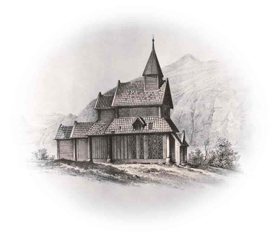Illustrasjon av Urnes stavkirke