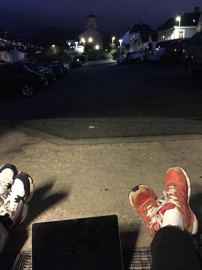 Outdoor concert on laptop