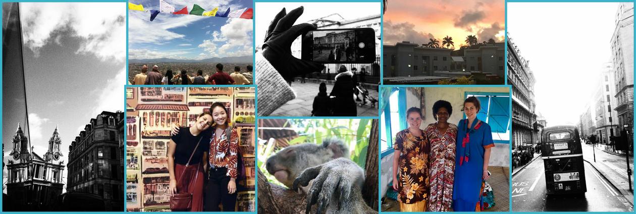 Collage av bilder fra hele verden og med ulike mennesker