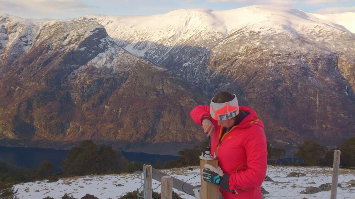 Mari Jokerud setting up the UV-B recorder at Høgsete