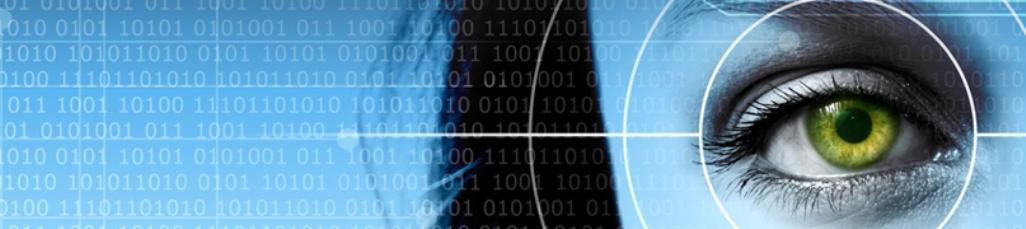 UIB-logo og nærbilde av et grønt øye i et siktefokus på blå bakgrunn
