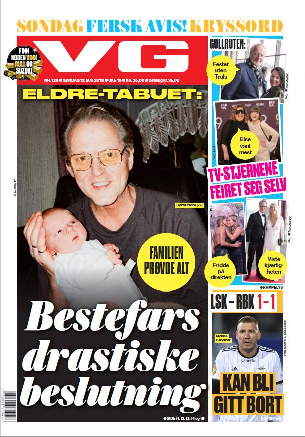 VG-forside hovedoppslag søndag 12 mai