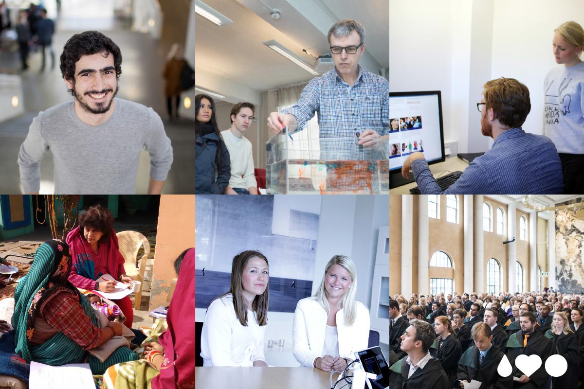 """Collage med bilder fra UiB som illustrerer """"vi utdanner"""""""