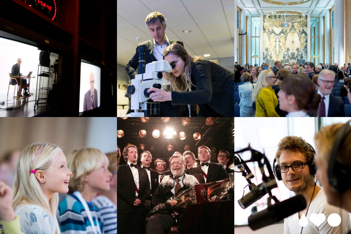 """Collage med bilder fra UiB som illustrerer """"vi utfordrer"""""""