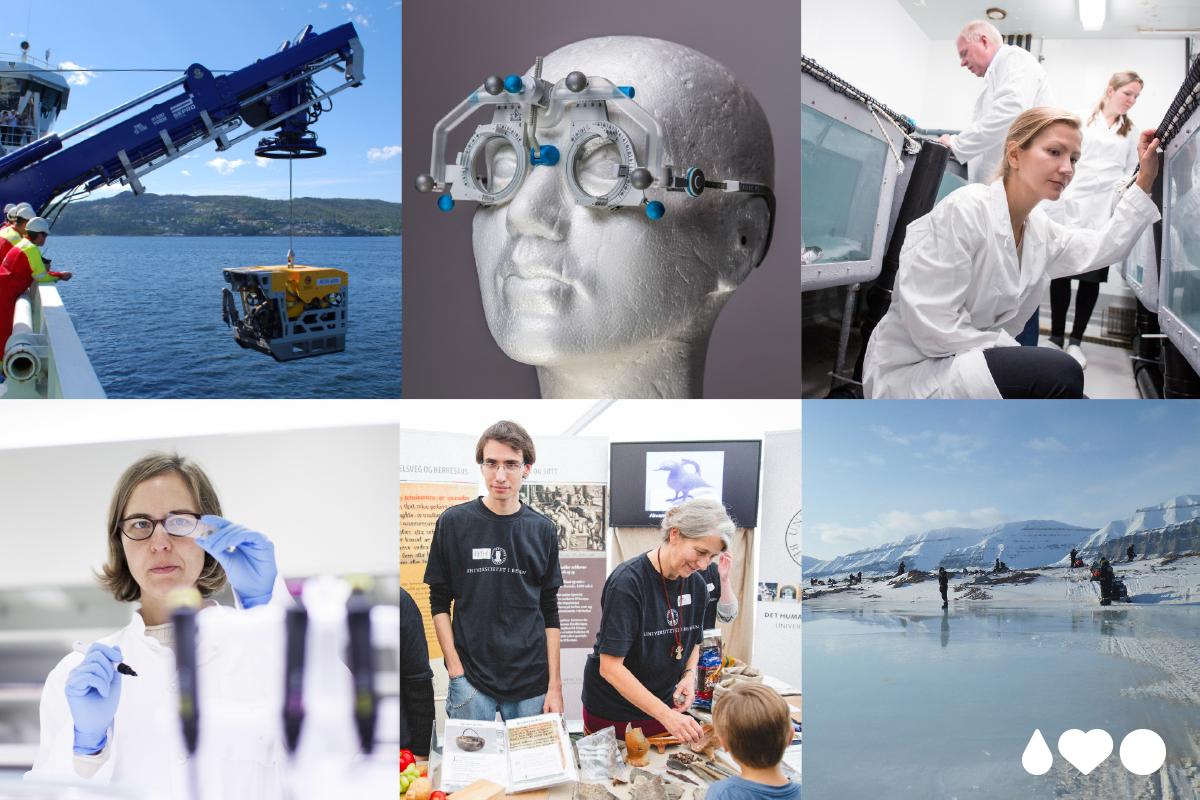 """Collage med bilder fra UiB som illustrerer """"vi utforsker"""""""