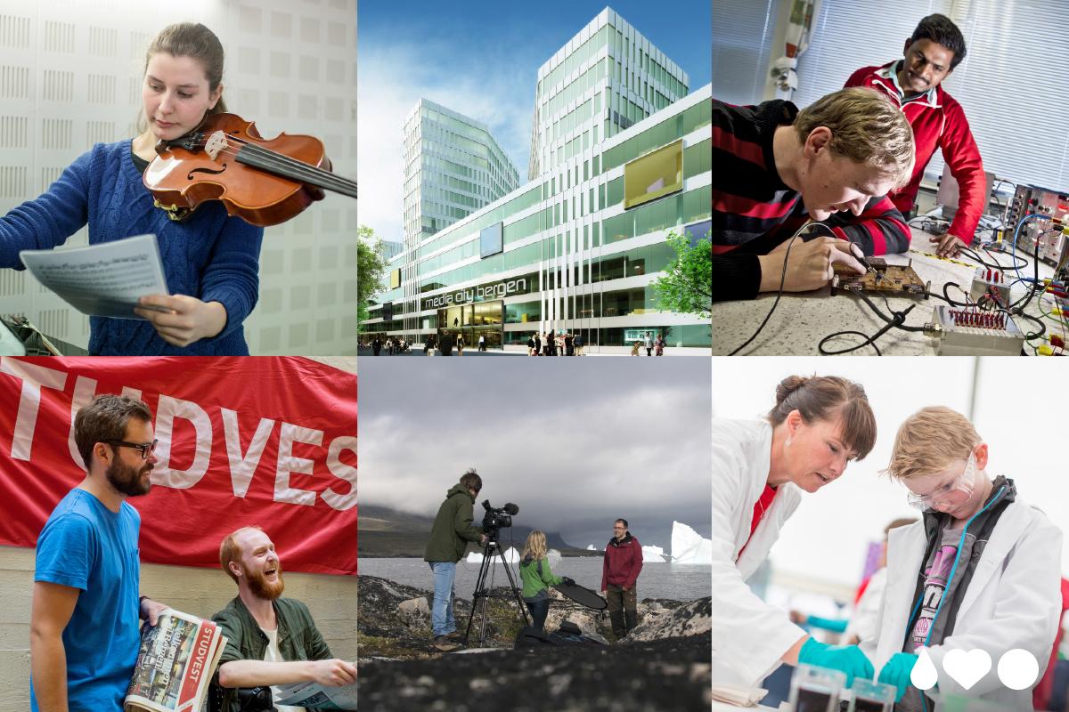 """Collage med bilder fra UiB som illustrerer """"vi utvikler"""""""