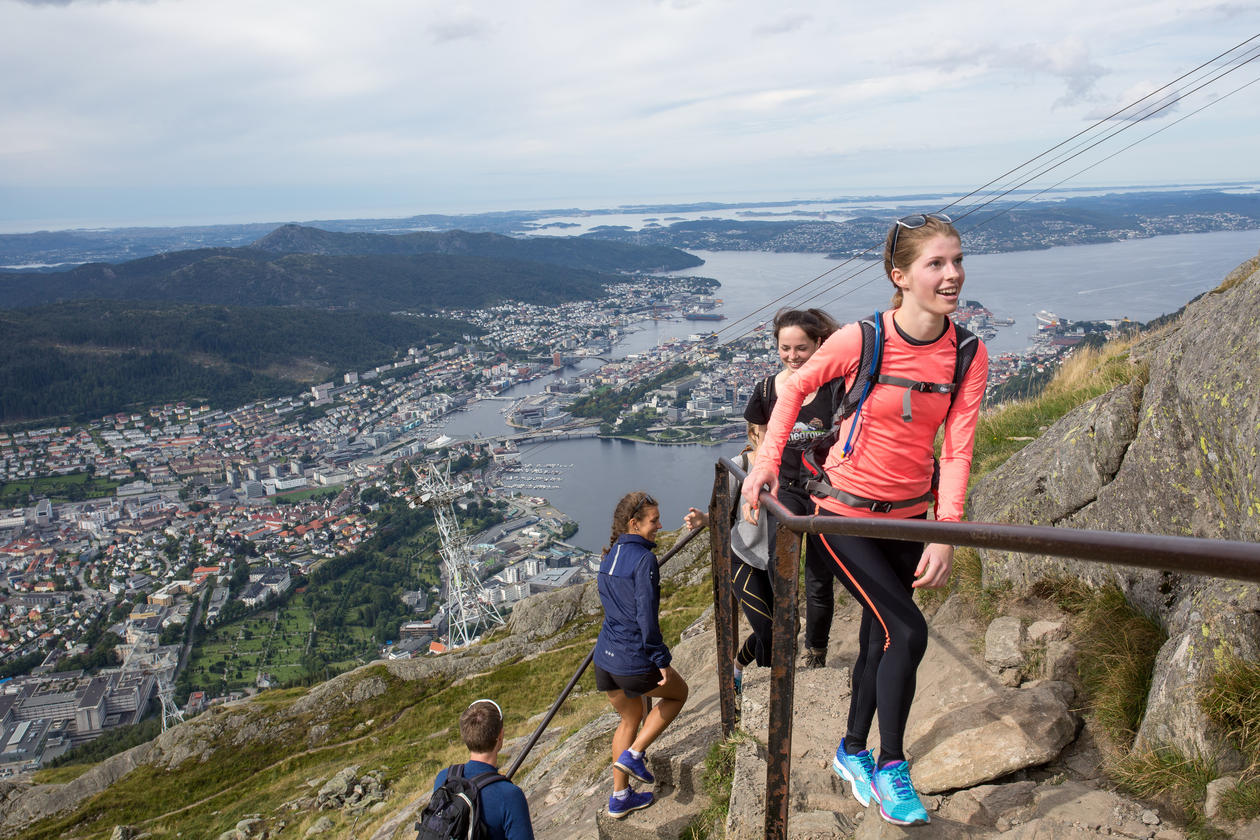 Students hiking up Mount Ulriken