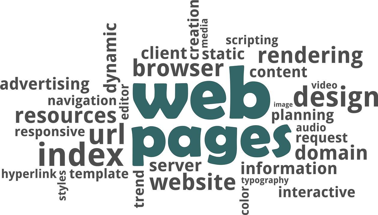 Web pages og lignende ord i en ordsky