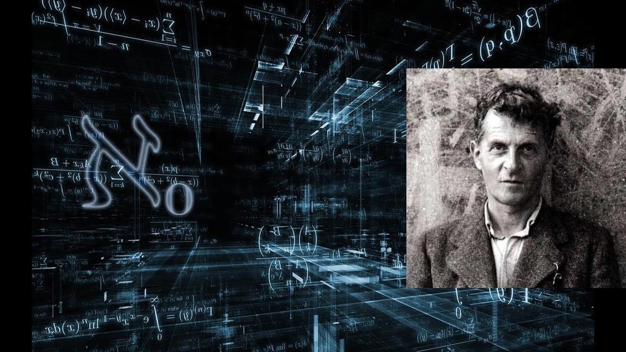 Et bilde av Wittgenstein integrert i en sky av matematiske symboler på blåsort bakgrunn