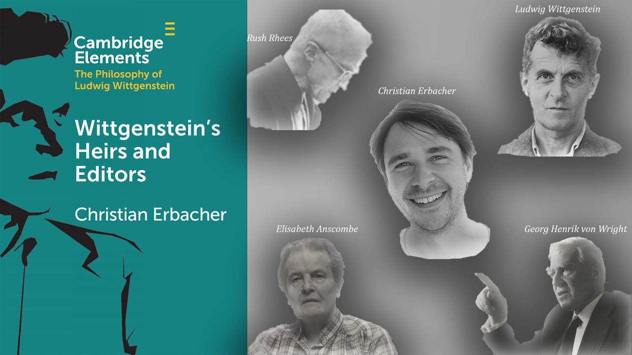 Bilde ab bokens cober samt en collage av Wittgenstein, hans litterære arvinger og Erbacher