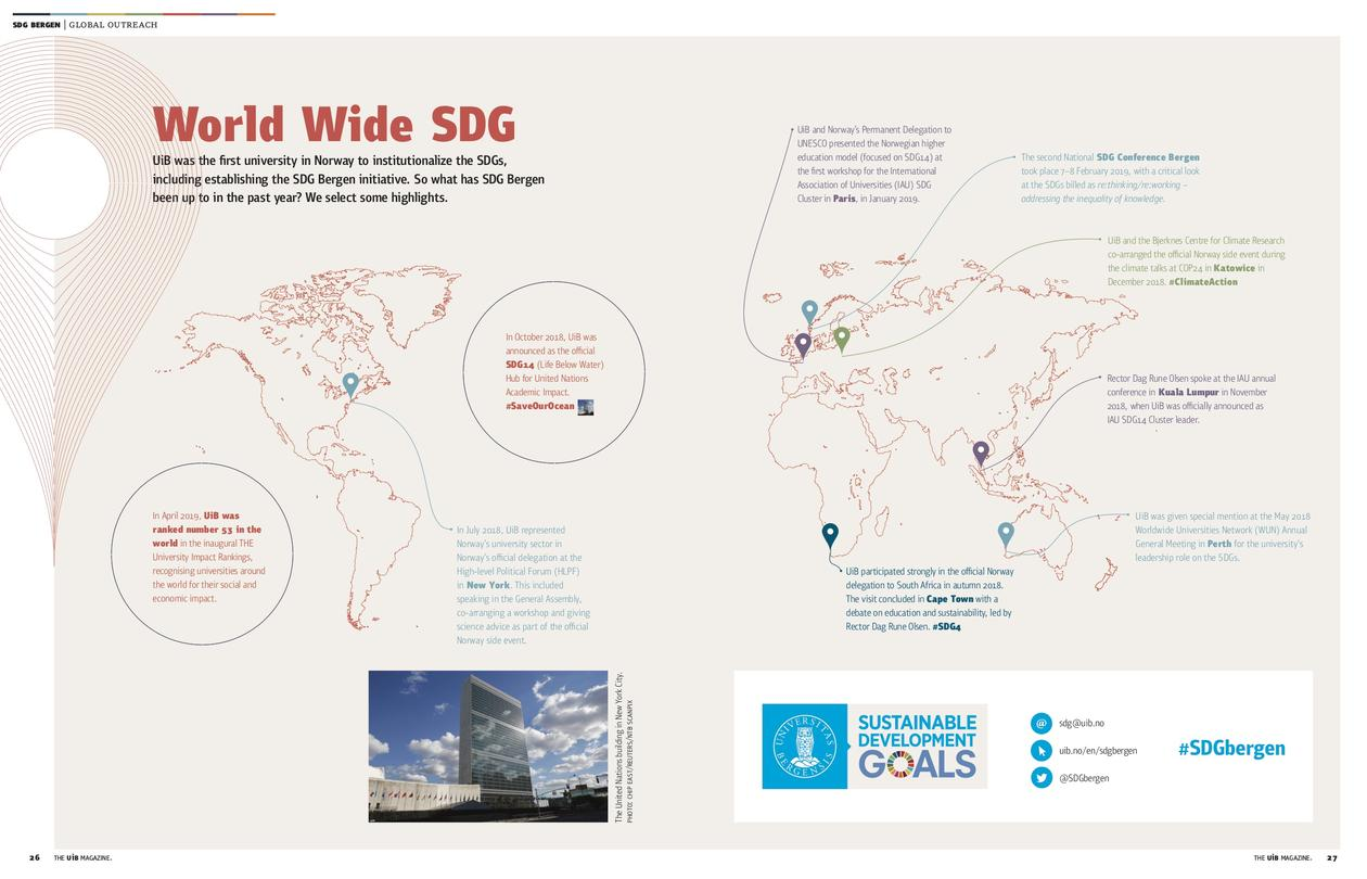 World Wide SDG from the UiB Magazine 2019/2020, showing a world map with select University of Bergen activities as part of the SDG Bergen initiative.