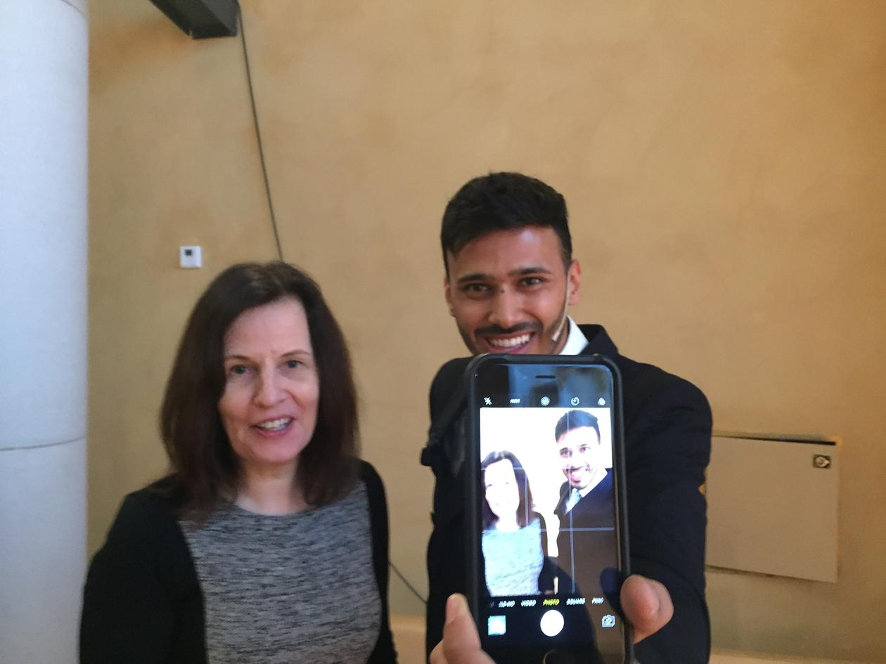 Social media influencer Yusuf Omar and Professor Astrid Gynnild from the University of Bergen at the Mobile spotting in the media conference in Bergen on 12 January 2017.