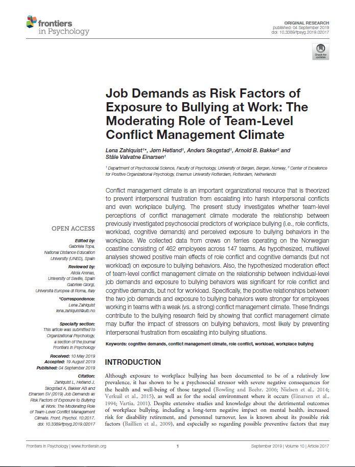 Job Demands as Risk Factors of Exposure to Bullying at Work: The Moderating Role of Team-Level Conflict Management Climate