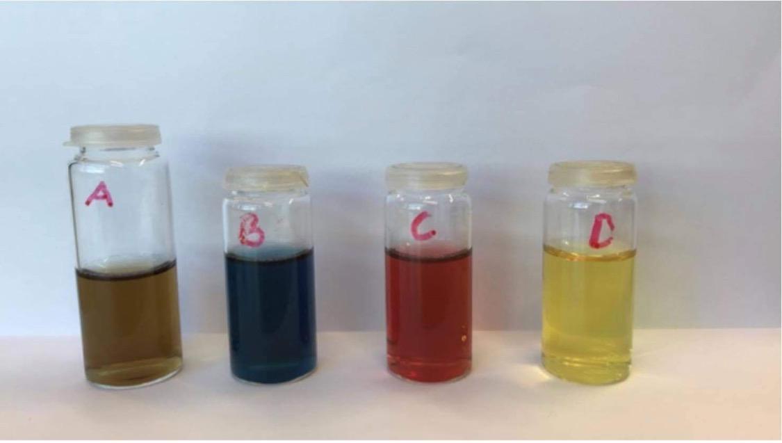 Nanopartikler i fire glass merket A, B, C og D