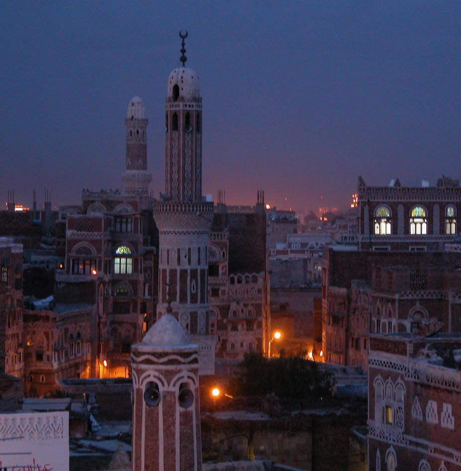 Dusk over old city of Sanaa