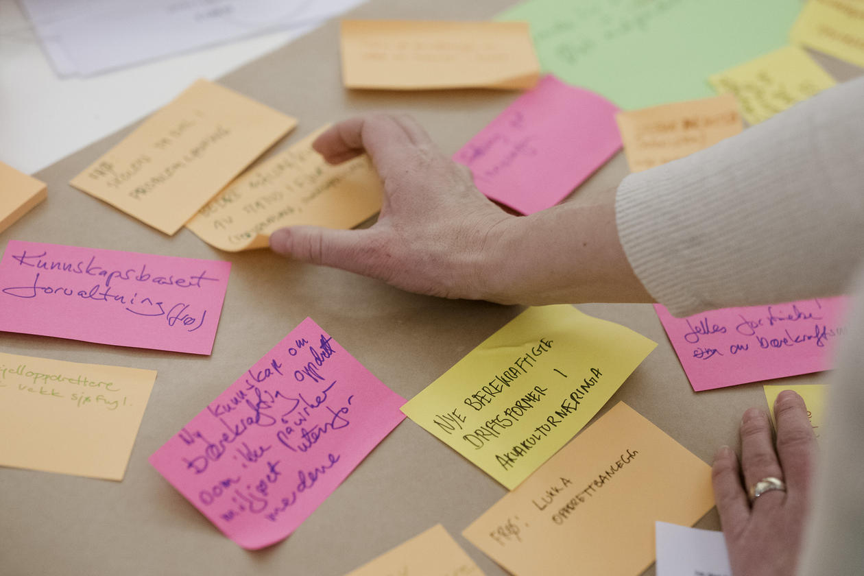 Photo: Post-its with ideas for a sustainable future in Nordhordland UNESCO Biosphere