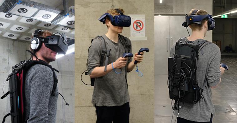 3 people testing VR