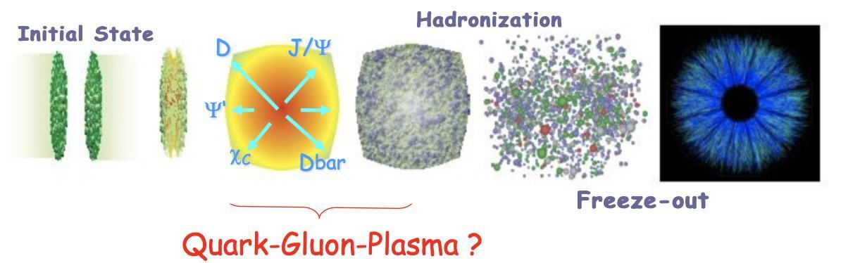 IFT: illustrasjon av tidsutviklingen til en tung-ione kollisjon