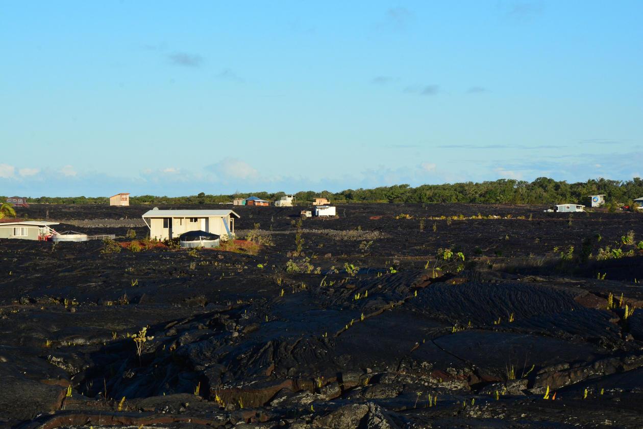 Lava dekker landskap i Puna-distriktet, Hawaii