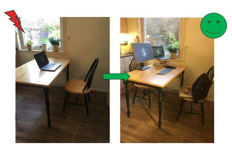 To bilder: Bilde av bord og stol med laptop på venstre side. Bilde av bord og stol med to skjermer, og pute på stolen på høyre siden.