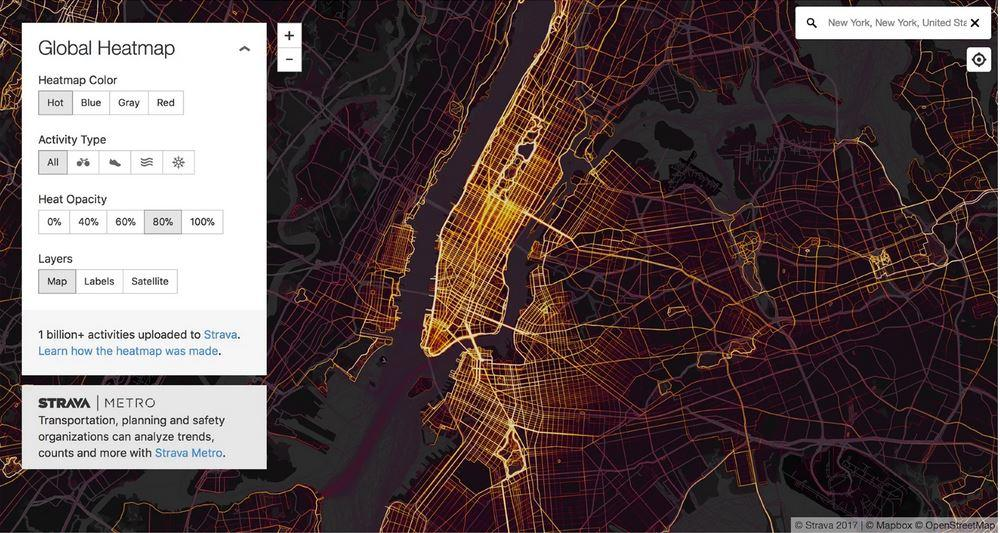 Manhattan sett via kart i Strava