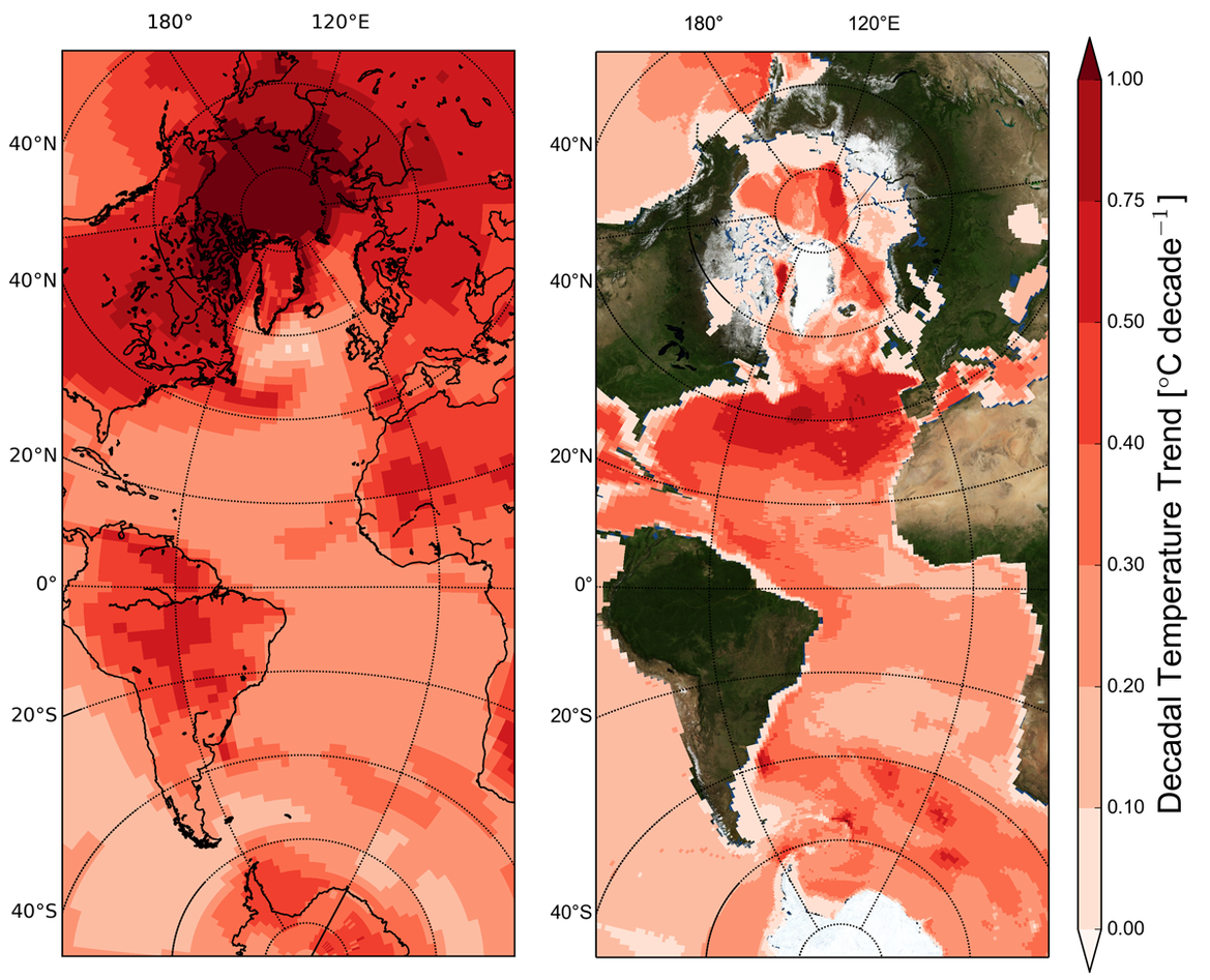 Temperature change between 2005 and 2100