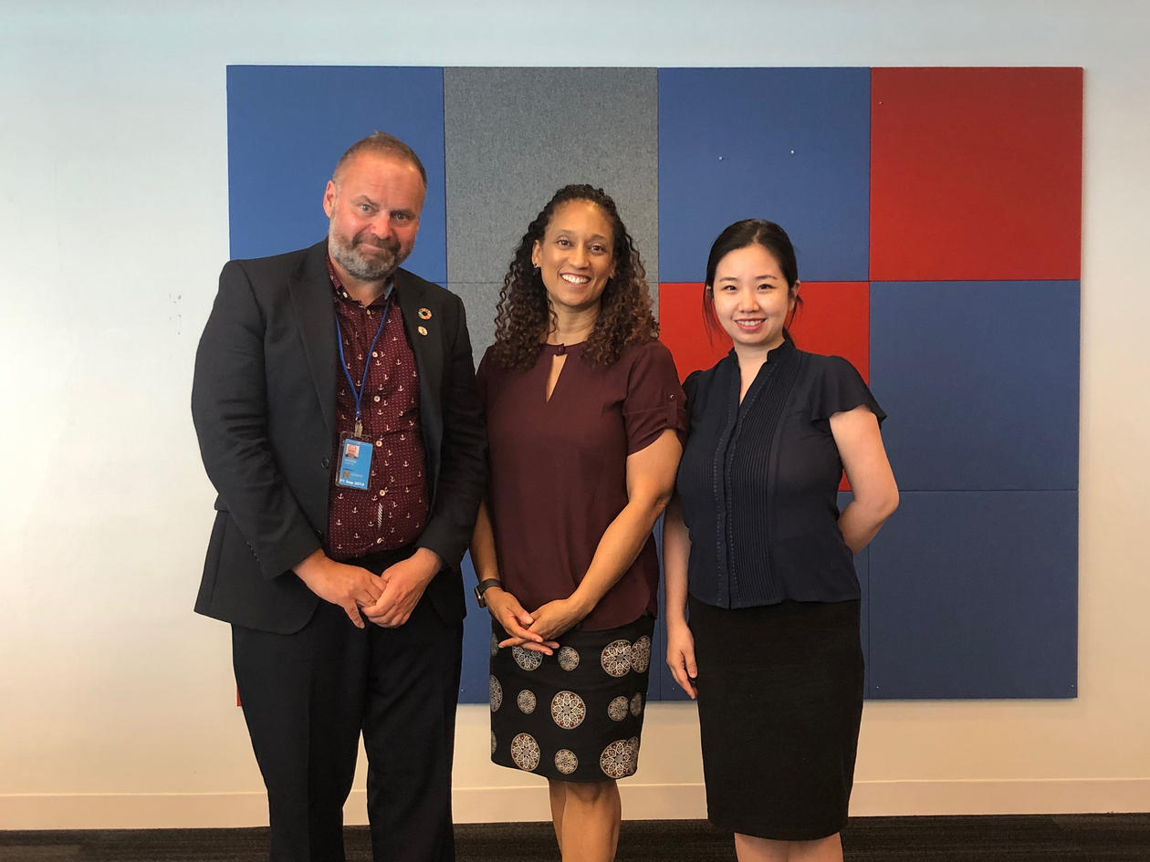 Sverre Ole Drønen from the University of Bergen at a meeting with La Neice Collins and Bo Li from United Nations Academic Impact (UNAI) iduring High-level Political Forum in July 2019.
