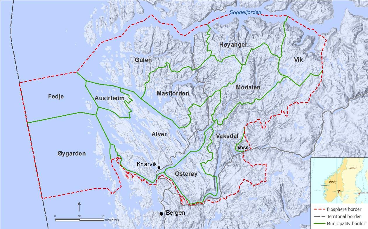 Map: Nordhordland UNESCO Biosphere area