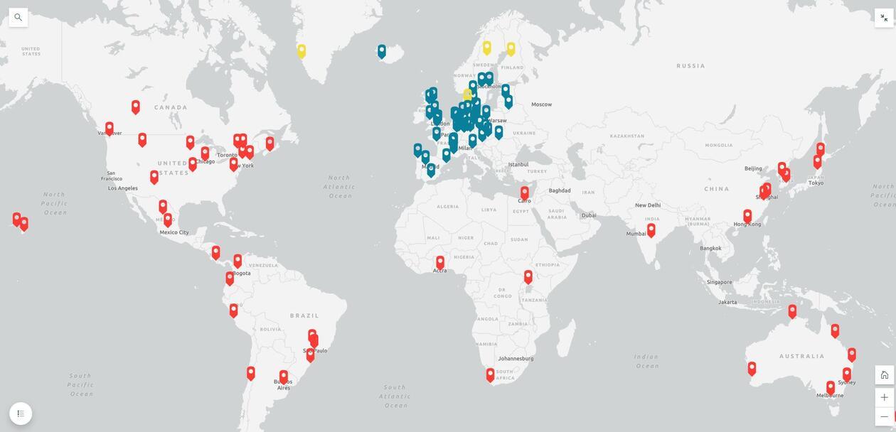 Kart med utvekslingsavtalar