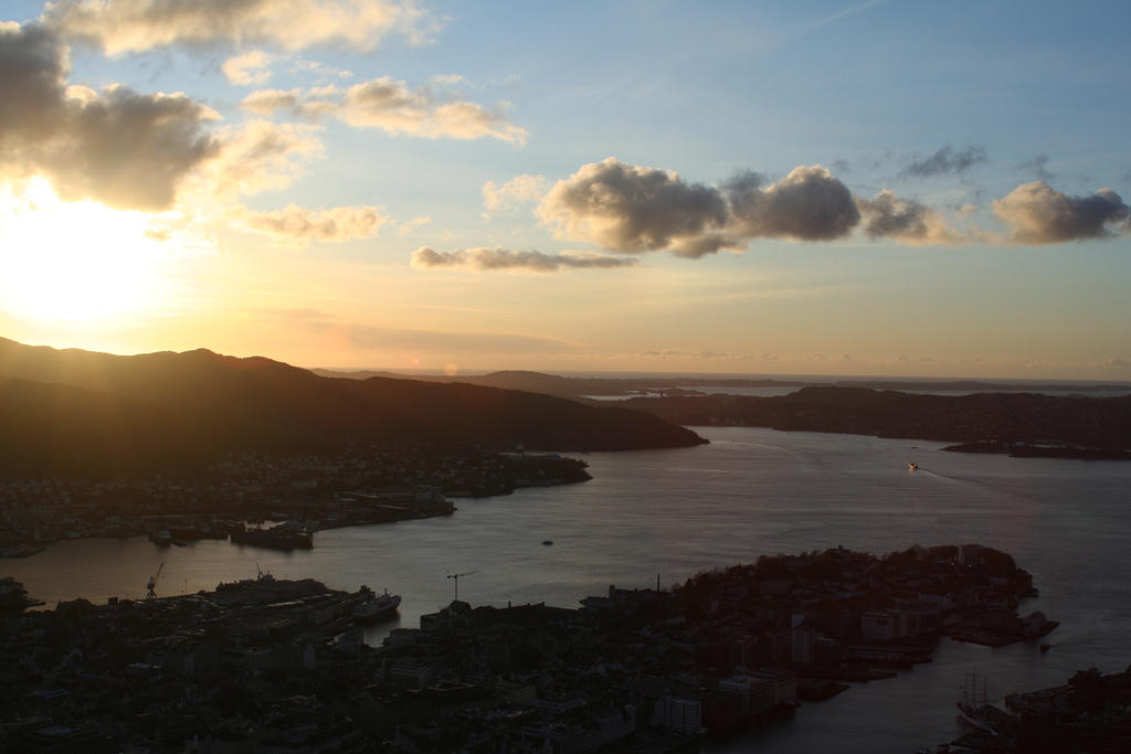 Sunset seen from Mount Fløyen