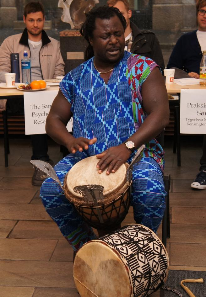 An African musician was entertaining on the International day.