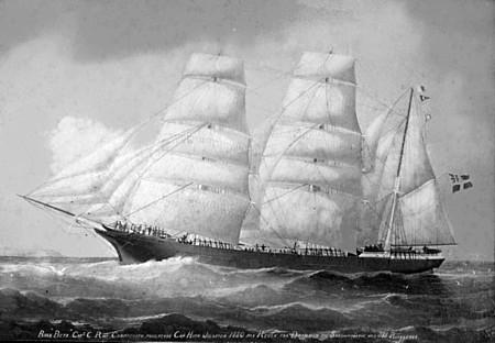 The bark Beta sailed from Drammen, Norway to Hawaii in 1879 with the first...
