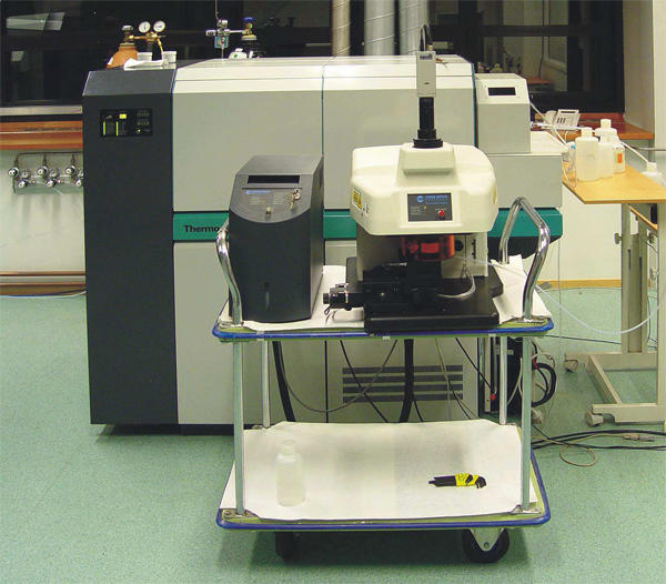 Single collector ICP-MS instrument with UV solid state laser ablation system...