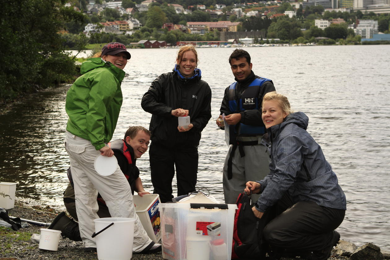 Five biology students performing sample work by the sea.