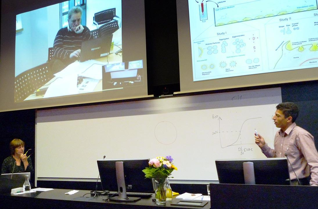 Prof. K. A. Dawson (on screen), M. Dusinska (left), Z.E. Allouni (right)