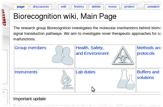 The frontpage of the Biorecognition wiki