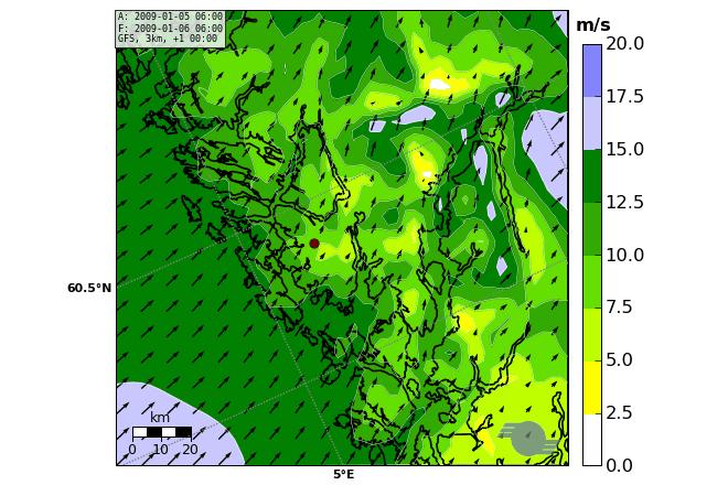 Vind fra finskala værvarslingsmodell for Bergensområdet