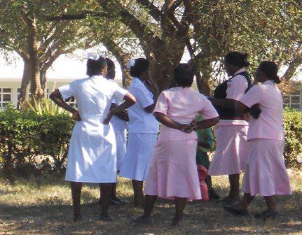 Female health workers in Tanzania.