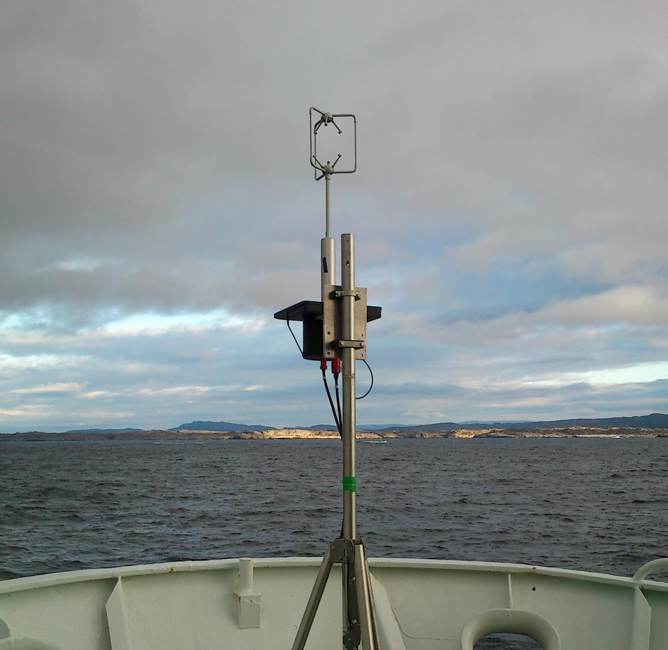 The eddy covariance system mounted in the bow of the research vessel Håkon...
