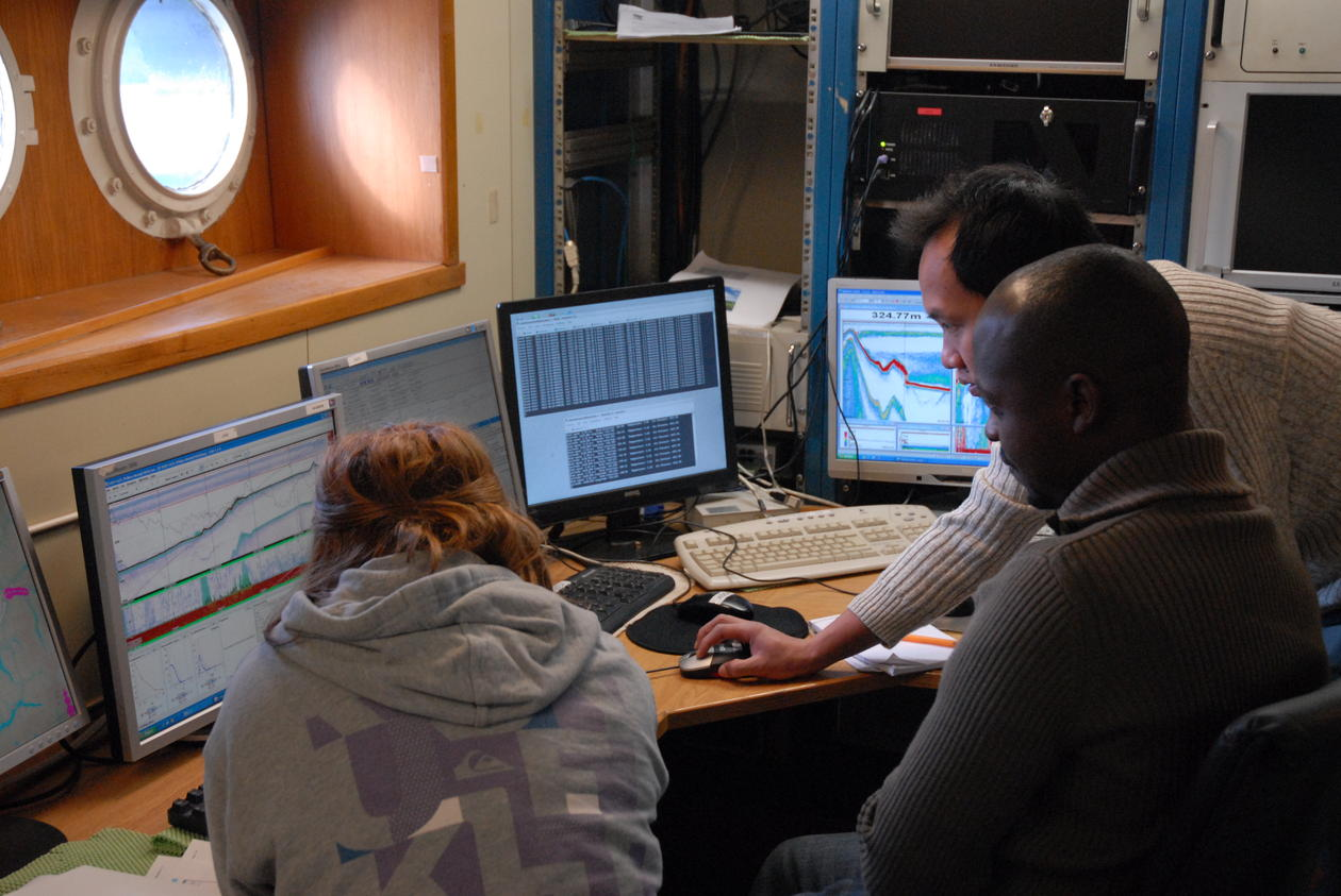 In the instrument room, acoustic instruments used for detecting and...