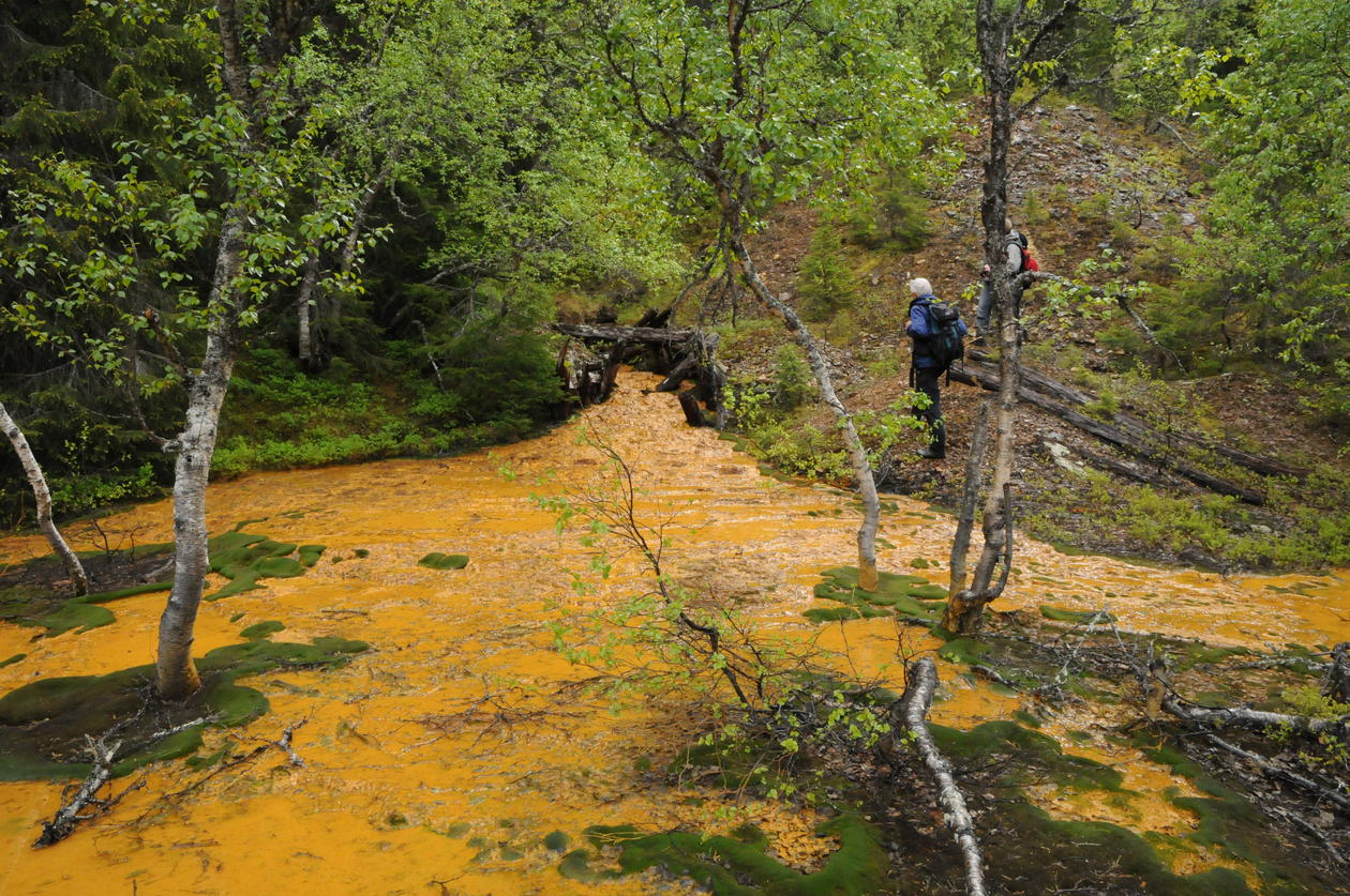 A river of substrate leaching from a land-based tailings deposit