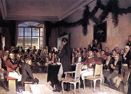 Oscar A. Wergelands maleri, Eidsvoll 1814, henger i stortingssalen.  Her ser...