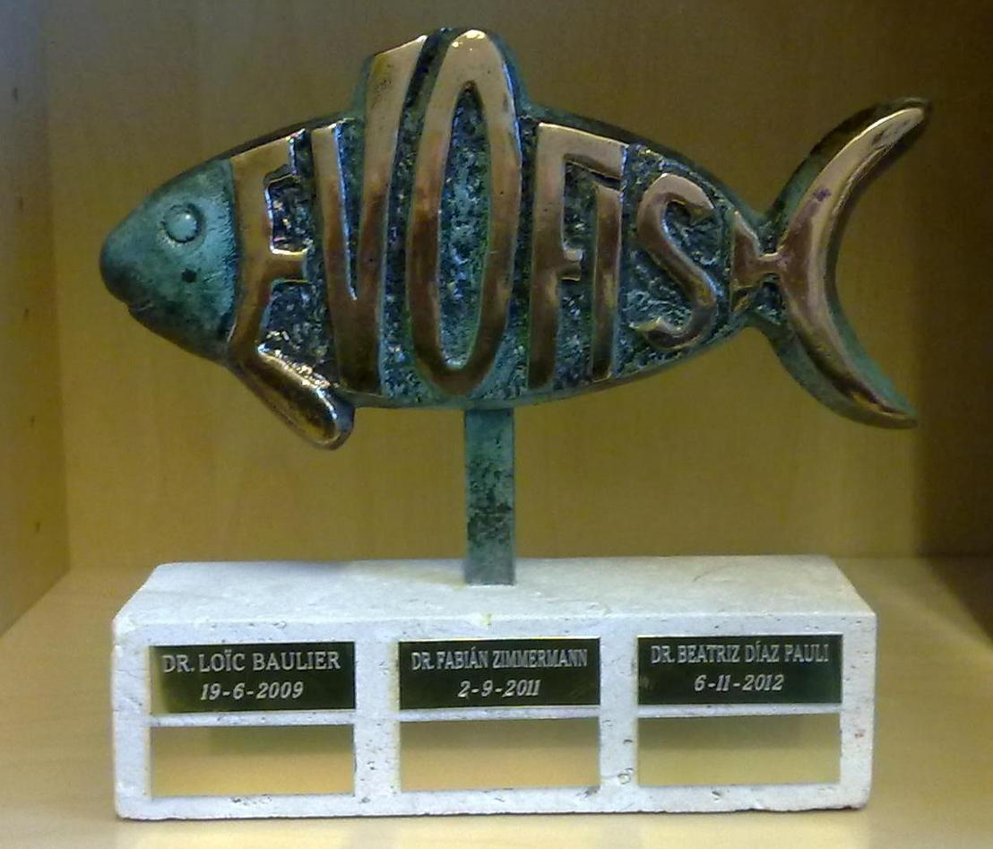 EvoFish trophy, with the names of PhDs from EvoFish (as of end 2012)