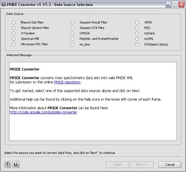 Screenshot from PRIDE Converter