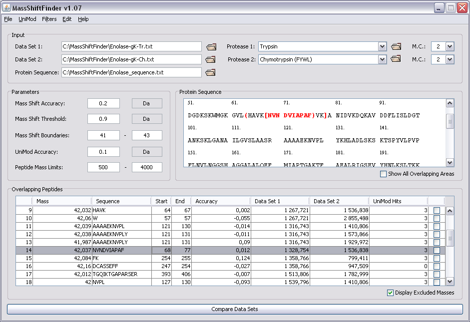 Screenshot from MassShiftFinder