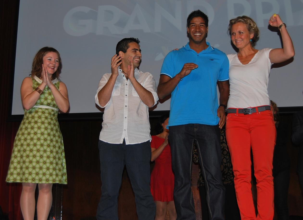 De fire glade finalistene. Fra venstre Marte Jürgensen (SIH, UiB), Mario...